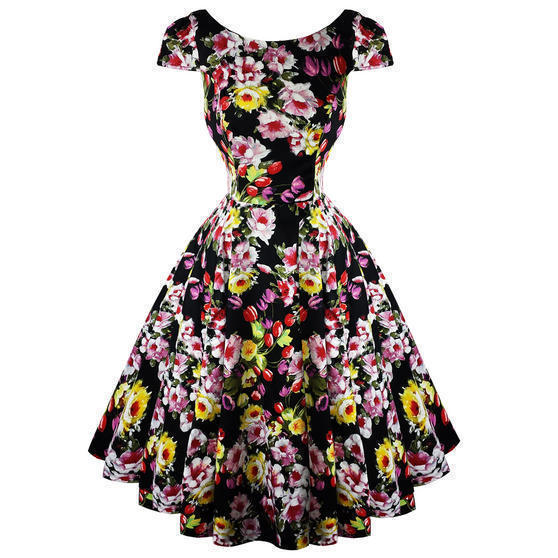 Hearts and Roses London Black Floral 1950s Dress