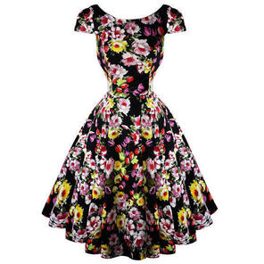 Hearts & Roses London Black Floral Vintage 50s Prom Swing Flared Dress