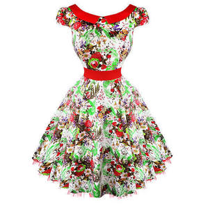 Hearts & Roses London White Floral Vintage 50s Prom Swing Flared Dress