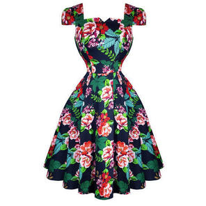 Hearts & Roses London Navy Blue Floral Retro 1950s Flared Tea Dress
