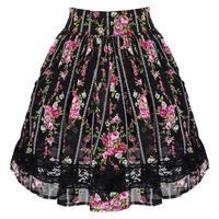 Hell Bunny Gypsy English Rose Chiffon Floral Mini Tea Summer Skirt