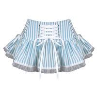 Hell Bunny Nautical Sailor Seductress Blue Striped Summer Festival Mini Skirt