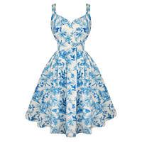 Hell Bunny Esme Blue Floral 50s Vintage Summer Prom Tea Dress