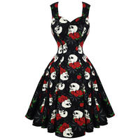 Hell Bunny Rock & Ruin Black Skull Rose Gothic 50s Party Prom Dress