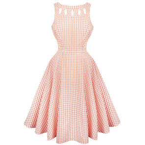 Womens Peach Gingham Summer Sun Dress Vintage 50s Rockabilly