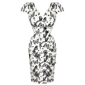 Womens Ivory Wedding Guest Pencil Dress Butterfly Lux Vintage 50s