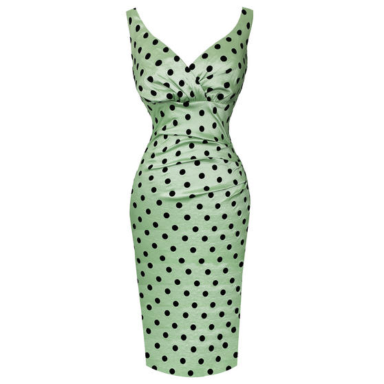 Voodoo Vixen Green Polka Dot 1950s Dress