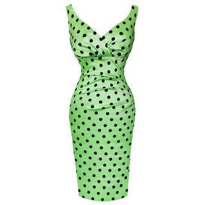 Womens Green Pencil Dress Chic Polka Dot Vintage 50s Wedding Prom
