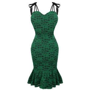 Womens Green Envy Pencil Dress Vintage 50s Floral Lace Summer Party