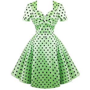 Womens Green Wedding Guest Dress Polka Dot Lux Vintage 50s