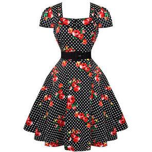 Womens Floral Polka Dot Vintage Dress Summer 50s Rockabilly