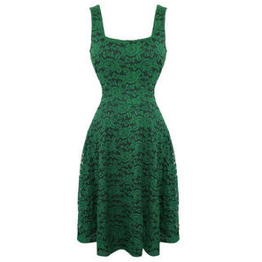 Womens Green Envy Dress Vintage 50s Floral Lace Flared Party