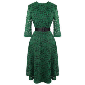Womens Green Envy Dress Vintage 1950s Floral Lace Flared Party