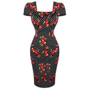 Womens Floral Polka Dot Pencil Dress Rockabilly Vintage Retro