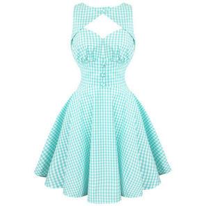 Womens Turquoise Gingham Summer Sun Dress Vintage 50s Rockabilly