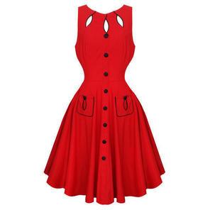 Womens Red Keyhole Flared 50s Dress Vintage Retro Rockabilly