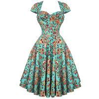 Hell Bunny Sasha Green Sugar Skull 50s Vintage Summer Prom Tea Dress