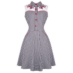 Hell Bunny Lydia Black White Gingham 50s Flared Western Summer Party Dress