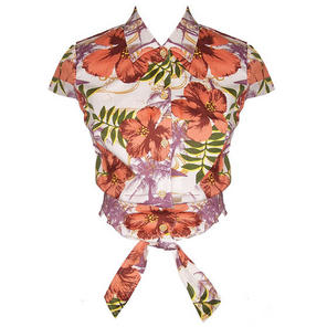 Hell Bunny Kaila Tropical Floral Cropped Tie Sleeveless Vintage Blouse Top
