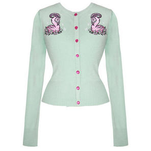 Hell Bunny Green Kitsch Pinup 1950s Flamingo Embroidery Cardigan Top