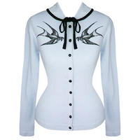 Hell Bunny Blue Kitsch Pinup Vintage Tattoo Swallow Print Cardigan Top