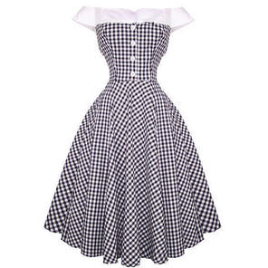 Hell Bunny Mary Ann Black White Gingham 50s Summer Party Swing Dress