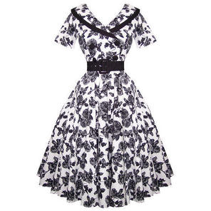 Hell Bunny Honor Black White Floral 50s Summer Party Swing Prom Dress