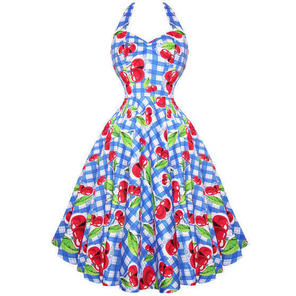 Hell Bunny August Blue Cherry Gingham 50s Summer Tea Party Dress