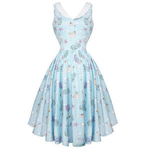 Hell Bunny Sea Sparkle Kitsch 1950s Swing Dress Party Prom Pinup Holiday