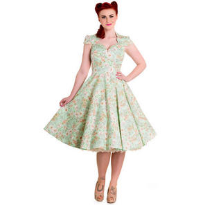Hell Bunny Camellia 1950s Green Retro Floral Party Prom Pinup Dress