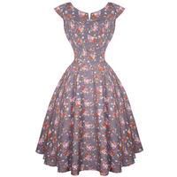 Hell Bunny Grey Floral Antonella 1940s Wartime WW2 Summer Tea Victory Sun Dress
