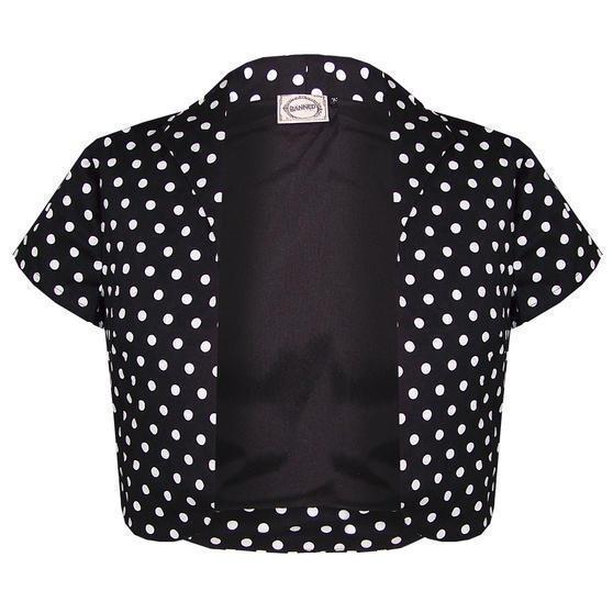 Banned Black Polka Dot Shrug Top