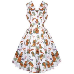 Womens White Tiki Tropical Kitsch 50s Vintage Pinup Holiday Party Sun Dress