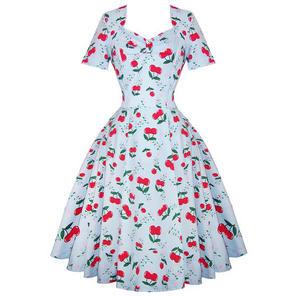 Womens New Cherry Rockabilly 50s Vintage Party Prom Swing Shrug Dress