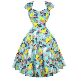 Womens New Green Tropical Rockabilly 50s Vintage Party Prom Swing Shrug Dress