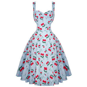 Womens New Cherry Rockabilly 50s Vintage Pinup Flared Summer Party Sun Dress