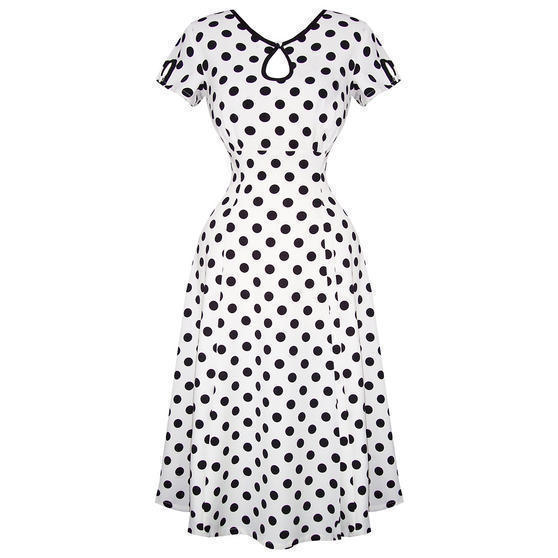 Banned White Polka Dot 1940s Dress
