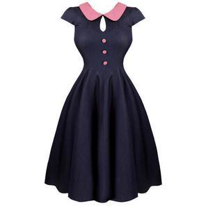 Womens Stretchy Denim 1950s Vintage Pinup Rockabilly Party Sun Dress