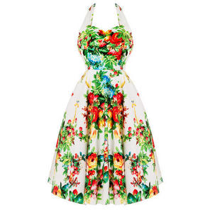 Whispering Ivy White Floral 1950s Dress