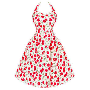 Womens Ladies New White & Red Cherry 50s Vintage Party Prom Sun Dress