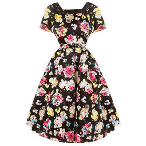 Womens Ladies New Black Floral 50s Vintage Summer Prom Tea Dress