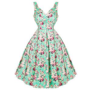Womens Ladies New Turquoise & Purple Floral 50s Vintage Summer Prom Tea Dress