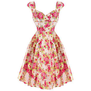 Hell Bunny Pink Floral Chiffon 1950s Vintage Summer Prom Tea Ascot Dress