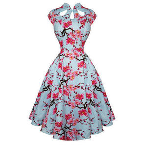Womens Blue Floral Rockabilly 50s Vintage Pinup Party Prom Swing Dress