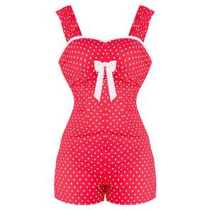 Hell Bunny Delphine Red Polka Dot Rockabilly Vintage Romper Playsuit Shorts