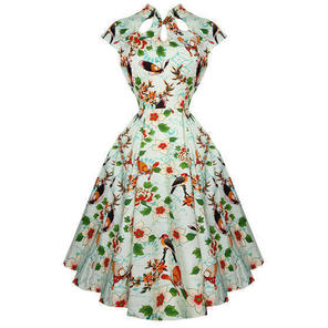 Womens Green Floral Rockabilly 50s Vintage Pinup Party Summer Swing Dress