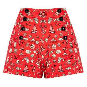 Womens New Red Sailor Summer Beach Holiday Cruise Shorts Vintage High Waist