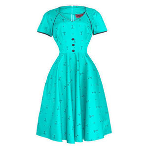 Womens New Turquoise Martini Cocktail Glass Vintage Dress 1950s Rockabilly