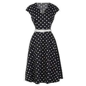 Womens New Black Polka Dot Vintage Retro 1950s Party Prom Dress