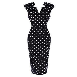 Womens Black White Polka Dot Pencil Dress 1950s Rockabilly Vintage Retro
